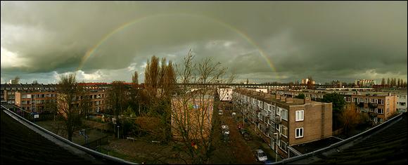 Regenboog boven Rotterdam Oud-Mathenesse