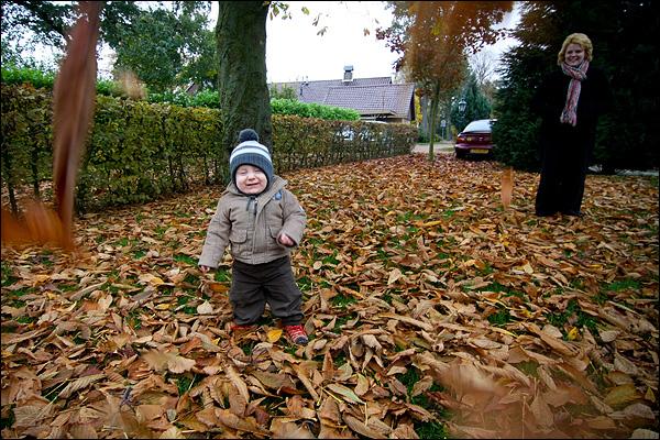 Daniël en herfstbladeren