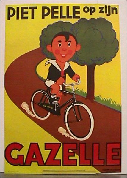 Piet Pelle op zijn Gazelle